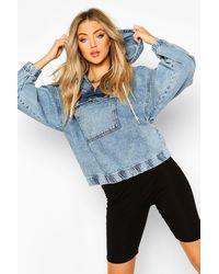 Boohoo Womens Hooded Acid Wash Pull Over Denim Jacket - Blau