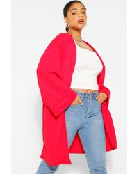 Boohoo Plus Kimono Sleeve Duster - Red