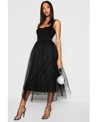 Boohoo Tall Boutique Tulle Mesh Midi Skirt - Black