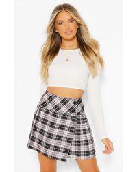 Boohoo Plaid Flannel Pleated Tennis Skirt - Pink