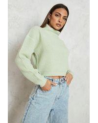 Boohoo Jersey Crop De Cuello Vuelto Y Punto Inglés - Amarillo