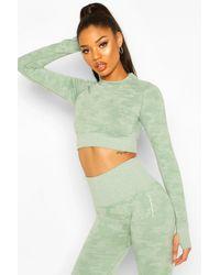 Boohoo Crop Top Camouflage Sans Coutures À Manches Longues Fit - Vert