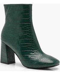 Boohoo - Croc Flared Heel Shoe Boots - Lyst