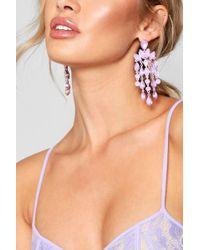 Boohoo - Statement Gemstone Waterfall Earrings - Lyst