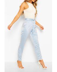 Boohoo Pantalones De Pitillo Tejidos De Satén Con Nudo En Cintura - Azul