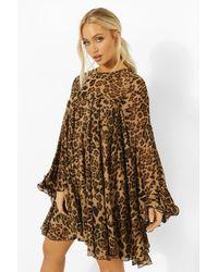 Boohoo - Leopard Print Pleated Detail Smock Dress - Lyst