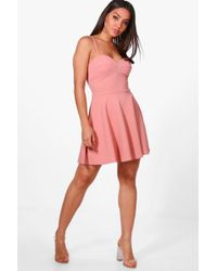 Boohoo - Kylie Strappy Detail Skater Dress - Lyst