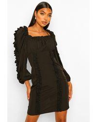 Boohoo Tall Ruffle Long Sleeve Woven Bodycon Dress - Nero