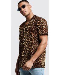3ea23fe86e13 BoohooMAN - Leopard Print Oversized Short Sleeve Revere Shirt - Lyst