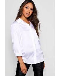 Boohoo Woven Satin Oversized Long Sleeve Shirt - White