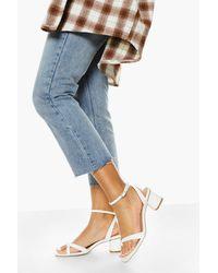 Boohoo Multi Strap Low Block Heel Sandal - White