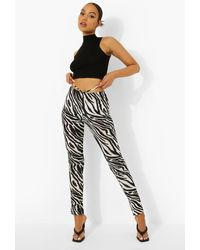 Boohoo Zebra Strappy Split Hem Leggings - Black
