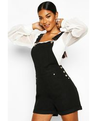 Boohoo Denim Overall Shorts - Black