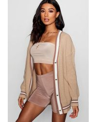 Boohoo - V-neck Tipped Button Up Cardigan - Lyst