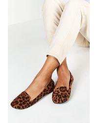 Boohoo Wide Width Leopard Tab Top Ballets - Brown