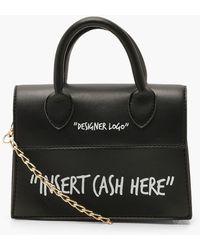 Boohoo Insert Cash Here Slogan Structured Cross Body Bag - Black