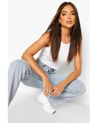 Boohoo Scoop Neck Cropped Tank Top - White