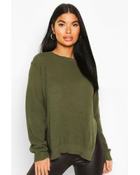 Boohoo - Petite Side Split Tunic Sweater - Lyst