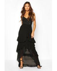 Boohoo Womens Layered Ruffle Hem Maxi Skirt - Black