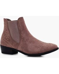 Boohoo - Kayla Pin Stud Western Detail Ankle Boot - Lyst