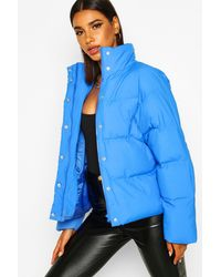 Boohoo Womens Funnel Neck Puffer Jacket With Pockets - Blue