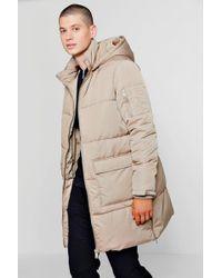 Boohoo - Hooded Longline Puffer With Side Zips - Lyst