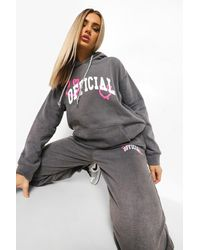 Boohoo Overdyed Official Hooded Tracksuit - Grey