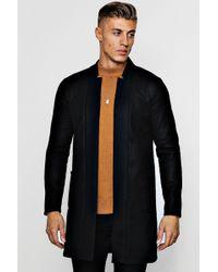 Boohoo Edge To Edge Smart Wool Look Overcoat - Black