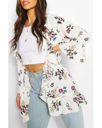 Boohoo Floral Print Waterfall Short Kimono - White