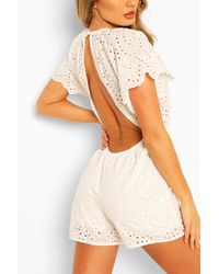 Boohoo Broderie Lace Open Back Playsuit - Bianco