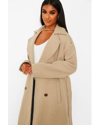 Boohoo Wool Look Belted Trench Coat - Natural