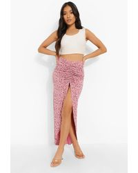 Boohoo Petite Floral Print Ruched Side Maxi Skirt - Rosa