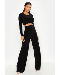 Boohoo Slinky Top Knot & Wide Leg Trousers Two-piece Set - Black