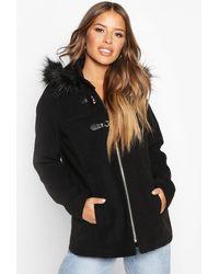 Boohoo Womens Petite Faux Fur Trim Wool Look Duffle Coat - Black