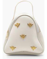 Boohoo Metal Bee Mini Rucksack - White