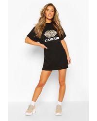 Boohoo Petite Leopard Lips Slogan T-shirt Dress - Black