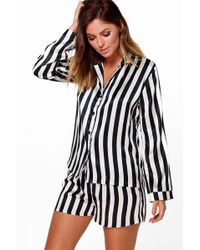 Boohoo - Satin Stripe Print Long Sleeve And Short Pj Set - Lyst