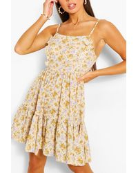 Boohoo Floral Print Strappy Tiered Swing Dress - Yellow