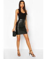 Boohoo Tall Leather Look Mini Skirt - Black
