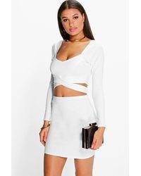 Boohoo Wrap Top & Mini Skirt Two-piece Set - White