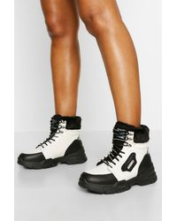 Boohoo Faux Fur Cuff Chunky Hiker Boots - White