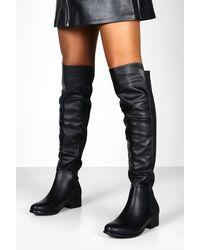 Boohoo Elastic Back Over The Knee Boots - Black