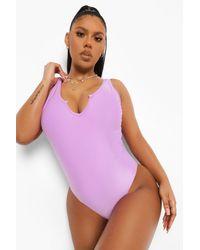 Boohoo Essentials Fuller Bust Notch Swimsuit - Morado