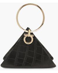 Boohoo Womens Croc Triangle Ring Handle Clutch Bag - Black