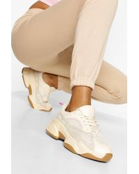 Boohoo Contrast Piping Chunky Trainers - Natural