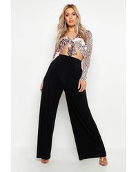 Boohoo - Plus Slinky Wide Leg Pants - Lyst