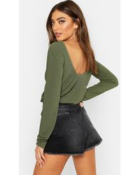 Boohoo - Womens Basic Low Back Scooped Long Sleeve T-shirt - Green - 2 - Lyst