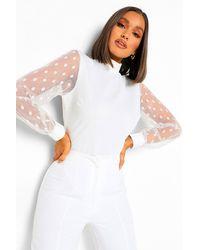 Boohoo Dobby Mesh Open Back Bidysuit - White