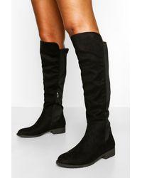 Boohoo Knee High Stretch Riding Boot - Black