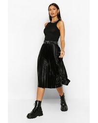 Boohoo Satin Pleated Woven Floaty Skirt - Black
